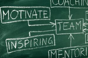 Team building and coaching flow chart on blackboard