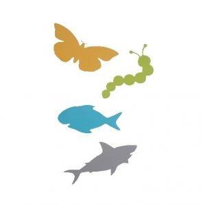 Vissen haaien vlinders en rupsen